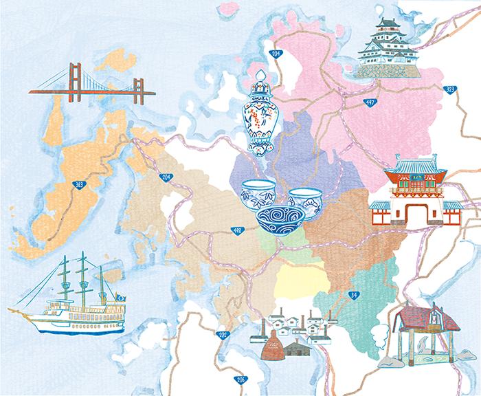 肥前やきもの圏400年熟成観光地佐賀と長崎のイラストマップ 公式