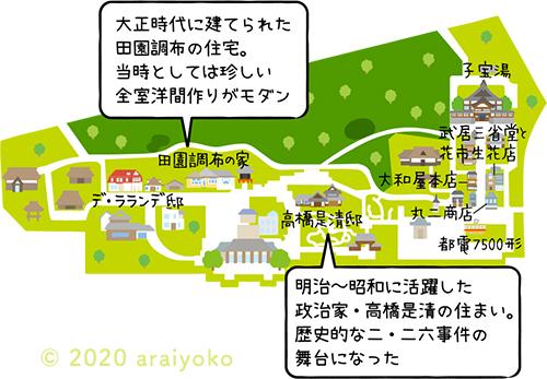 江戸東京たてもの園の園内を紹介するイラストマップです
